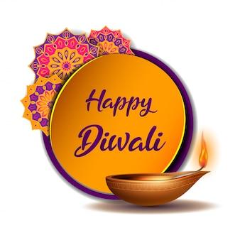 Tarjeta de felicitación con diya ardiente y pegatina amarilla con rangoli indio