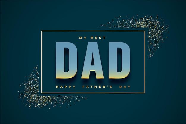 Tarjeta de felicitación dorada agradable del día del padre
