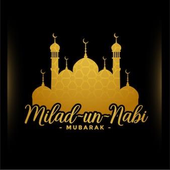 Tarjeta de felicitación dorada del festival milad un nabi