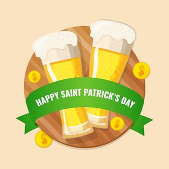 Tarjeta de felicitación con dos vasos de cerveza, cinta verde y monedas.