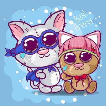 Tarjeta de felicitación de la ducha del bebé con el gatito y el oso lindos de la historieta