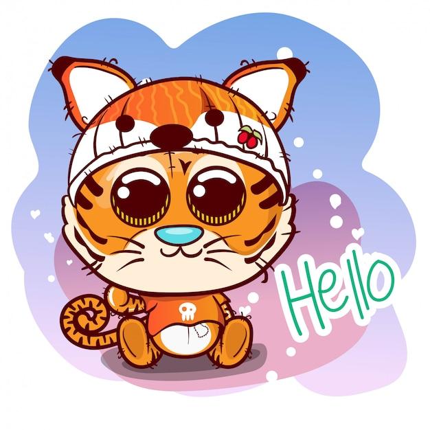 Tarjeta de felicitación de la ducha del bebé con el muchacho lindo del tigre de la historieta - vector