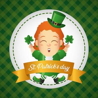 Tarjeta de felicitación de duende irlandés, día de san patricio