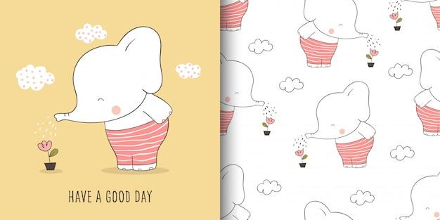 Tarjeta de felicitación y elefante de patrones sin fisuras