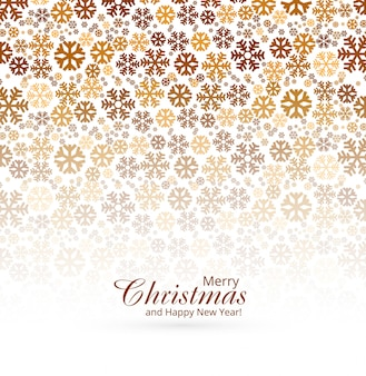 Tarjeta de felicitación elegante de la feliz navidad con el fondo de los copos de nieve