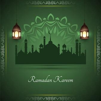 Tarjeta de felicitación elegante de ramadán kareem con mezquita