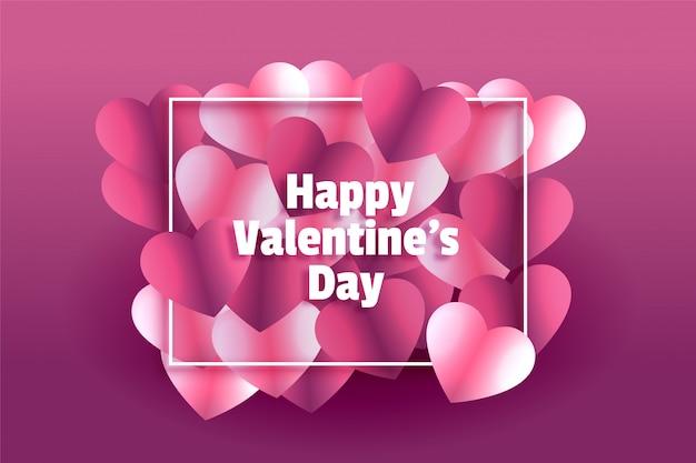 Tarjeta de felicitación encantadora del marco del día de san valentín de corazones brillantes