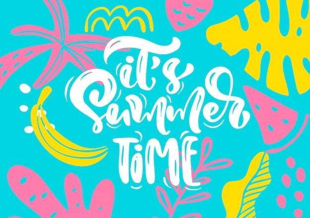 Tarjeta de felicitación escandinava con texto de letras caligráficas su horario de verano