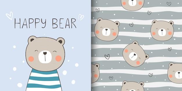 Tarjeta de felicitación y estampado de patrones sin fisuras oso feliz para niños textiles de tela.