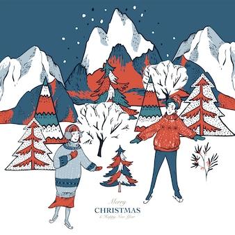 Tarjeta de felicitación en estilo escandinavo de casas rojas de invierno cubiertas de nieve, trineo de personas, patinaje sobre hielo en una pista