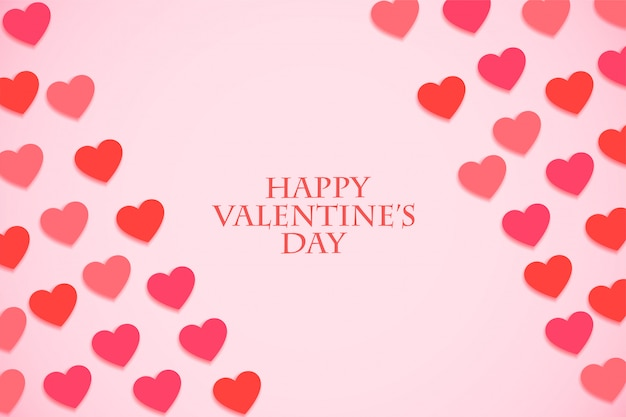Tarjeta de felicitación del evento del día de san valentín con corazones de tonos rosados
