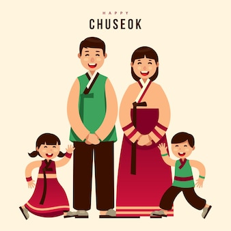 Tarjeta de felicitación de la familia de acción de gracias chuseok hanbok coreano