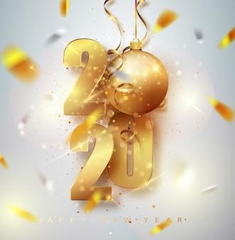 Tarjeta de felicitación feliz año 2020 con números metálicos dorados 2020.