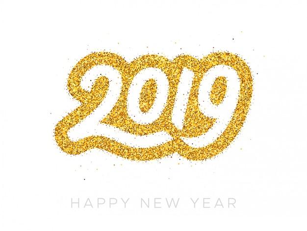 Tarjeta de felicitación feliz año nuevo 2019
