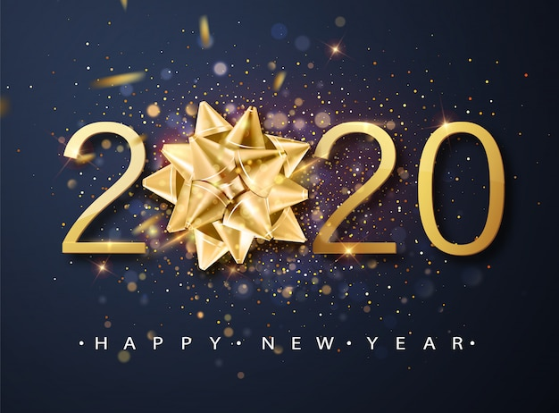 Tarjeta de felicitación de feliz año nuevo 2020 con arco de regalo dorado, confeti, números blancos.