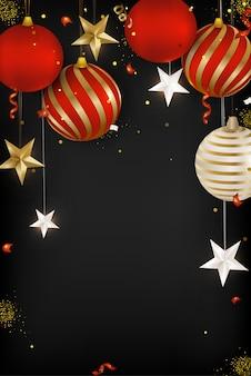 Tarjeta de felicitación de feliz año nuevo 2020 bolas de navidad, copos de nieve, serpentina, confeti, estrellas 3d sobre fondo negro. .