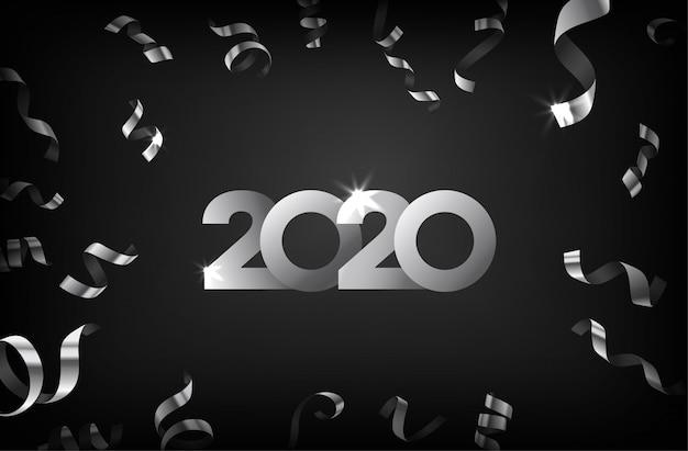 Tarjeta de felicitación de feliz año nuevo 2020 con confeti de plata que cae