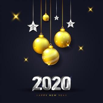 Tarjeta de felicitación de feliz año nuevo 2020 con decoración navideña oscura y realista en color dorado y plateado
