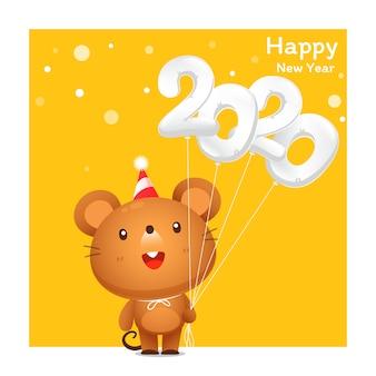 Tarjeta de felicitación de feliz año nuevo 2020 con dibujos animados lindo rata