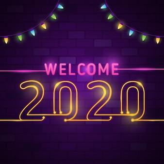 Tarjeta de felicitación de feliz año nuevo 2020 con efecto de neón de texto brillante