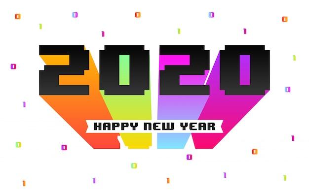 Tarjeta de felicitación de feliz año nuevo 2020 en estilo retro de juegos de 8 bits