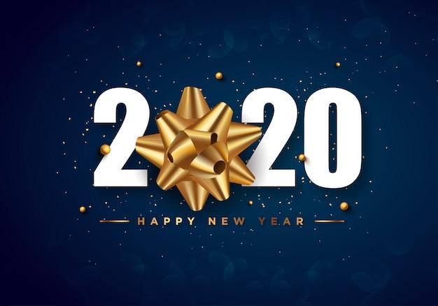 Tarjeta de felicitación de feliz año nuevo 2020 fondo de confeti dorado