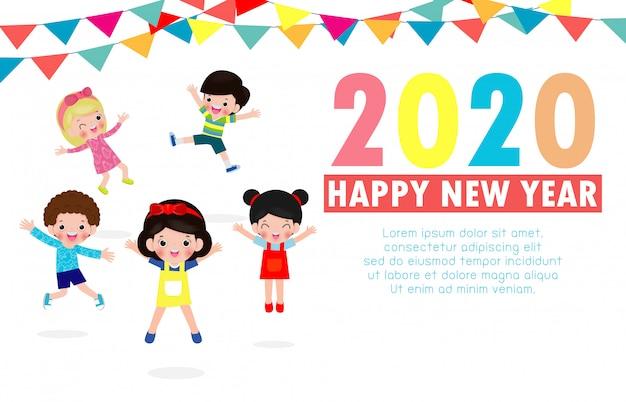 Tarjeta de felicitación de feliz año nuevo 2020 con grupo de niños saltando