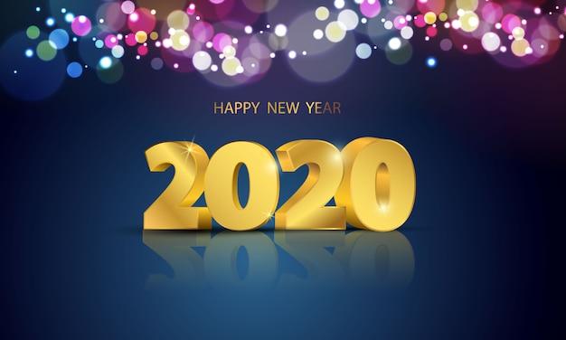 Tarjeta de felicitación de feliz año nuevo 2020 con luces de colores bokeh