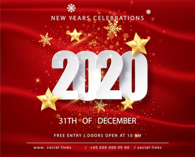 Tarjeta de felicitación de feliz año nuevo 2020 con marco de confeti en rojo. folleto o póster de feliz navidad