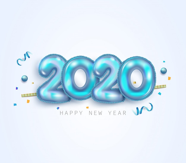 Tarjeta de felicitación de feliz año nuevo 2020 con números de lámina metálica azul plateada