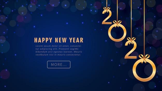 Tarjeta de felicitación feliz año nuevo 2020 con números de oro colgando, brillo, bokeh.