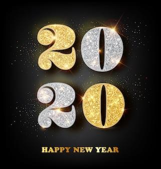 Tarjeta de felicitación de feliz año nuevo 2020 con números de oro y plata en negro