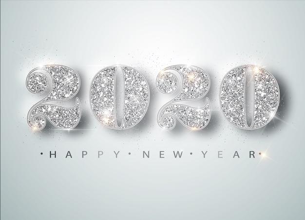 Tarjeta de felicitación de feliz año nuevo 2020 con números de plata y marco de confeti en blanco. folleto o póster de feliz navidad