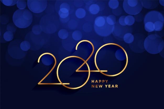 Tarjeta de felicitación de feliz año nuevo 2020 oro y azul bokeh