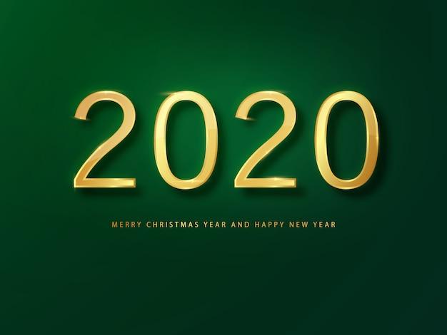 Tarjeta de felicitación de feliz año nuevo 2020 oro y fondo verde. fondo verde año nuevo.