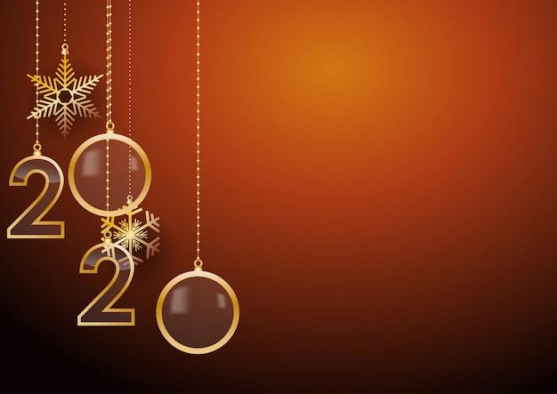 Tarjeta de felicitación de feliz año nuevo 2020 con saludos festivos