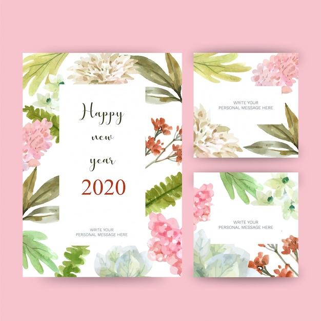 Tarjeta de felicitación de feliz año nuevo 2020 con tema floral