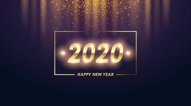 Tarjeta de felicitación de feliz año nuevo 2020