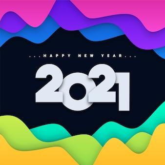 Tarjeta de felicitación de feliz año nuevo 2021 de corte de papel de colores