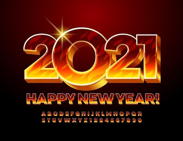 Tarjeta de felicitación ¡feliz año nuevo 2021! fuente ardiente. conjunto de letras y números del alfabeto llameante 3d