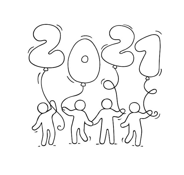 Tarjeta de felicitación de feliz año nuevo 2021. ilustración de dibujos animados doodle con gente pequeña sosteniendo globos. ilustración de vector dibujado a mano para celebración.