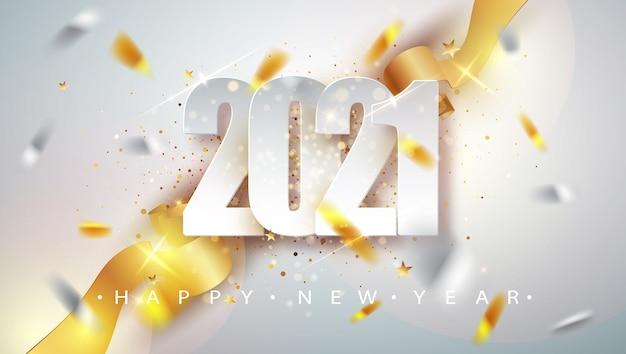 Tarjeta de felicitación de feliz año nuevo 2021 con marco de confeti
