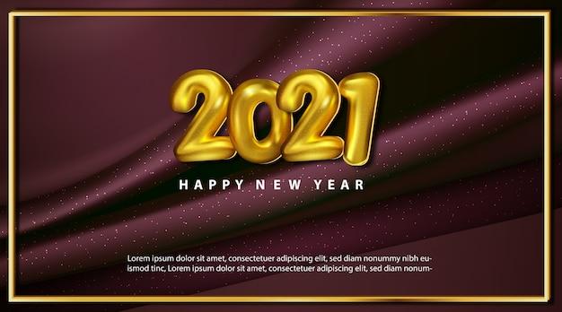 Tarjeta de felicitación de feliz año nuevo 2021 metálico de lujo