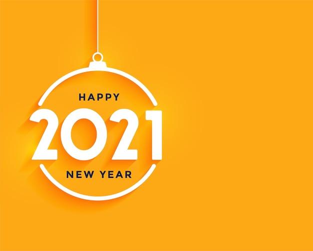 Tarjeta de felicitación de feliz año nuevo con 2021 números blancos en forma de bola de navidad en naranja