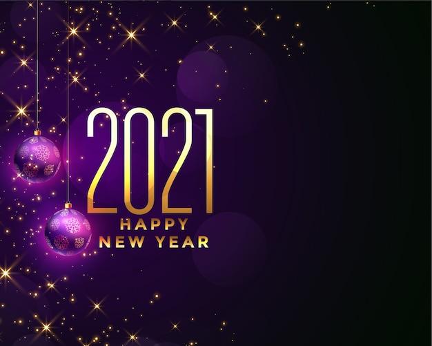 Tarjeta de felicitación de feliz año nuevo con 2021 números dorados, bolas púrpuras y destellos