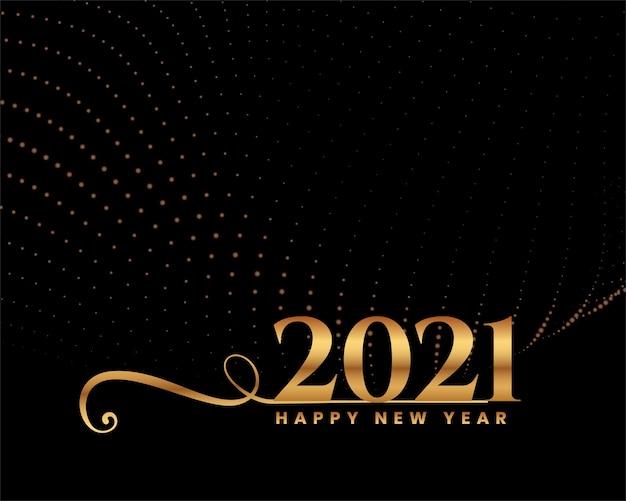 Tarjeta de felicitación de feliz año nuevo con 2021 números dorados y destellos
