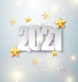 Tarjeta de felicitación de feliz año nuevo 2021 con números plateados y confeti