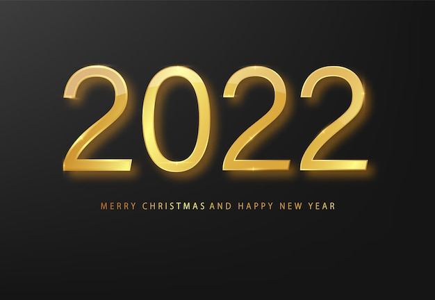 Tarjeta de felicitación de feliz año nuevo 2022 fondo dorado y negro. fondo negro de año nuevo. portada de diario comercial para 20221 con deseos. plantilla de diseño de folleto, tarjeta, banner