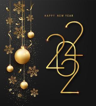 Tarjeta de felicitación de feliz año nuevo 2022 o plantilla de banner. números metálicos dorados 2022 con copo de nieve brillante y confeti sobre fondo negro