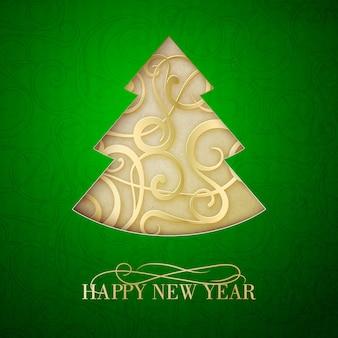 Tarjeta de felicitación de feliz año nuevo con árbol abstracto